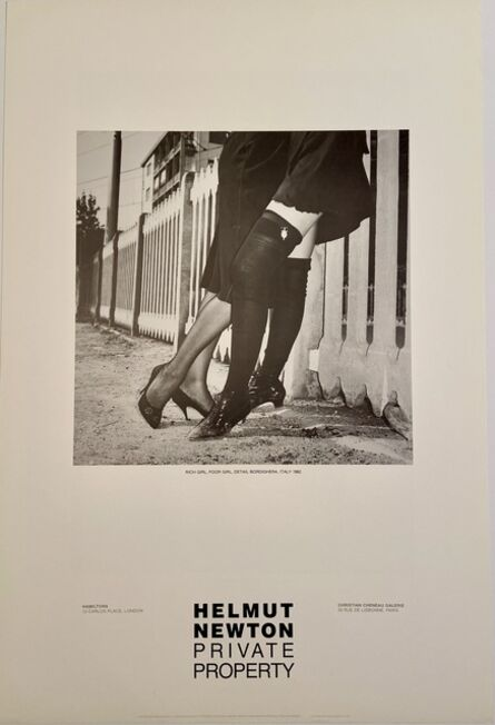"""Helmut Newton, 'Rare Limited Helmut Newton """"Private Property"""" Gallery Lithographic Poster (features the photo """"RICH GIRL , POOR GIRL, DETAIL BORDIGHERA, ITALY 1982 )', 1985"""
