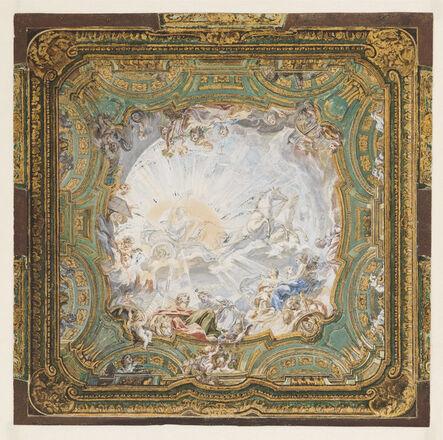 """Juste-Aurèle Meissonnier, '""""Chariot of Apollo,"""" Ceiling Design for Count Bielinski's Cabinet', 1734"""