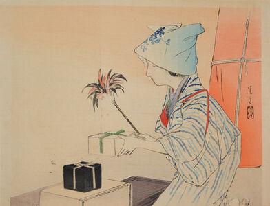 Tomioka Eisen, 'Dusting', 1902