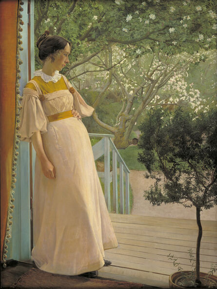 Laurits Andersen Ring, 'At the French Windows. The Artist's Wife ', 1897