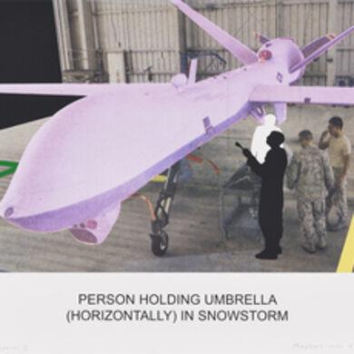 John Baldessari, 'The News: Person Holding Umbrella (Horizontally) in Snowstorm', 2014