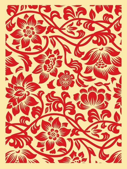Shepard Fairey, 'Floral takeover (cream/red)', 2017
