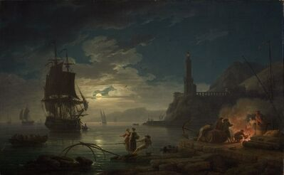 Claude-Joseph Vernet, 'Coastal Scene in Moonlight', 1769
