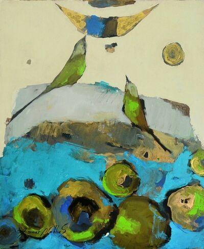 Ammar Alnahhas, 'A Blackbird and The Moon on a sunflower field', 2021