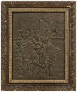 Maurycy Gottlieb, 'After MAURYCY GOTTLIEB, Yom Kippur Eve 19C Judaica Bronze Wall Relief', Late 19th Century