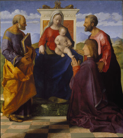 Giovanni Bellini, 'Virgin and Child with Saint Peter, Saint Mark and a Donor', 1505
