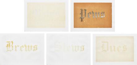 Ed Ruscha, 'News, Mews, Pews, Brews, Stews & Dues: five plates', 1970
