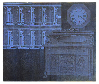 Larry Lewis, 'Untitled (Blue Clock) - Page from mixed media collage book, Side A and B', ca. 1970
