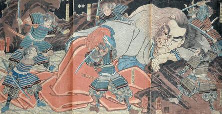 Utagawa Kuniyoshi, 'Minamoto no Yorimitsu (Raiko) Attacking  Shutendoji', ca. 1848