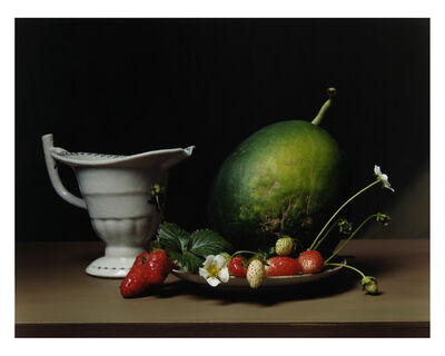 Sharon Core, 'Early American, Still Life with Strawberries and Arikara Melon', 2008
