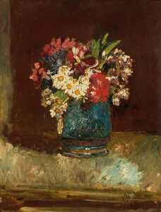 Adolphe Monticelli, 'Flowers in a Blue Vase', ca. 1875