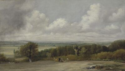 John Constable, 'Ploughing Scene in Suffolk', 1824 to 1825
