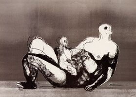 Henry Moore, 'Reclining Mother and Child with Grey Background', 1982