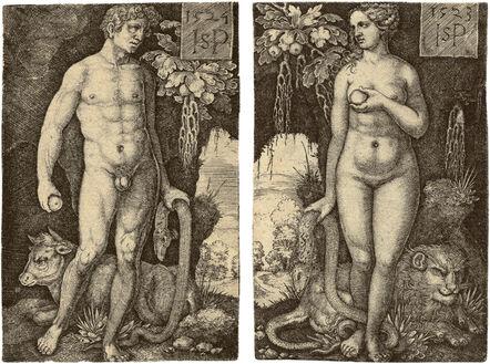 Hans Sebald Beham, 'Adam Standing, Eve Standing', 1524-1523
