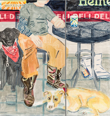 Stella Ebner, 'Deli bag and lottery ticket (Gutter punk with his dogs)', 2019