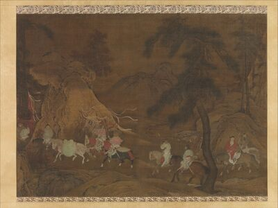 Unknown Chinese, 'Emperor Xuanzong's Flight to Shu (南宋 佚名 明皇幸蜀圖 軸)', mid-12th century