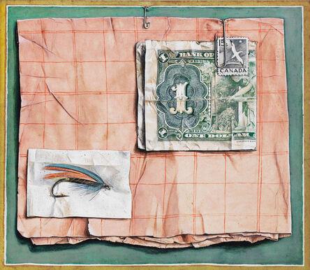 William Kurelek, 'Trompe L'oeil with a Fisherman's Fly', circa 1955
