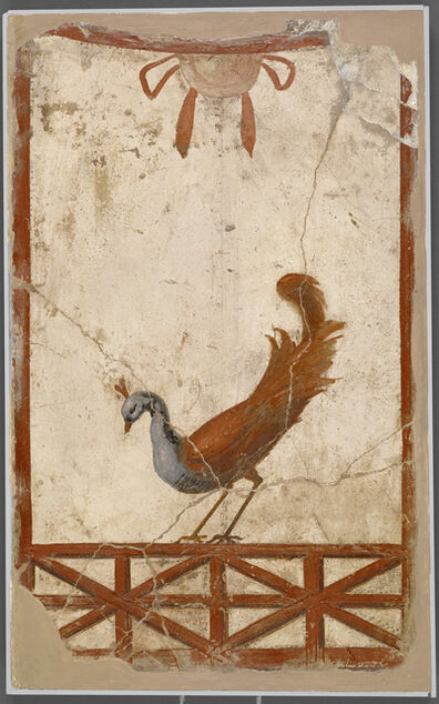 'Wall Fragment with a Peacock',  about 70