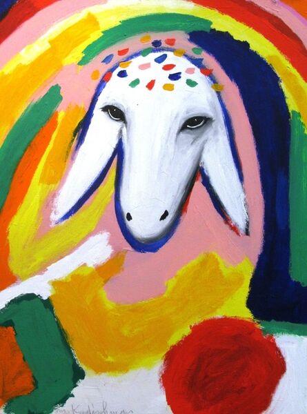 Menashe Kadishman, 'Sheep Portrait with Rainbow'