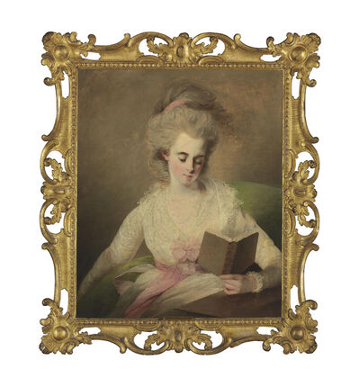 The Reverend Matthew William Peters, 'A young lady in a white dress with pink bows, seated at a table, reading a book'