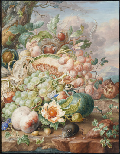 Herman Henstenburgh, 'Still life with fruit and a mouse', ca. 1700-1710