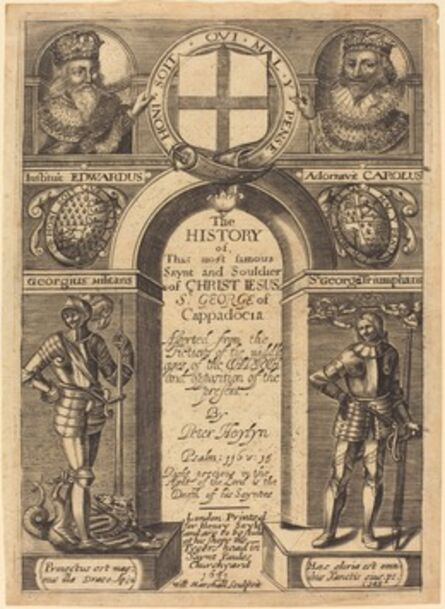 """Edward Marshall, 'Frontispiece for Peter Heylyn's """"The History of St. George of Cappadocia""""', published 1631"""