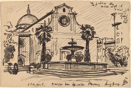 Oscar Bluemner, 'Piazza S. Spirito, Florence', 1912