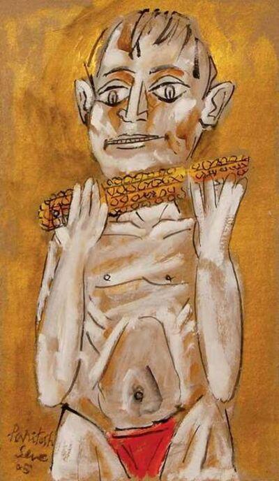 "Paritosh Sen, 'Boy Eating Corn, Acrylic on Board, Yellow, Orange, Red, Black Colours by Modern Artist ""In Stock""', 2005"