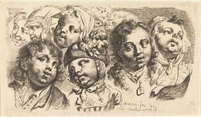 Johann Eleazar Schenau, 'Nine Children's Heads', 1765