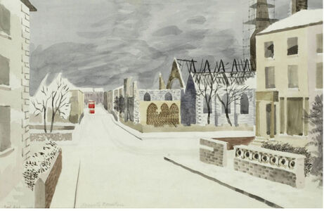 Kenneth Rowntree, 'Bombed Buildings and Red Bus in the Snow', 1940