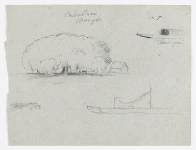 Frederic Edwin Church, 'Ceiba Tree at Mompos, Champan Canoe, Trees, and a Partial Boat, Rio Magdelena, Colombia', 1853