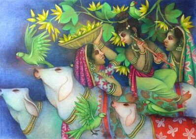 """Bratin Khan, 'Hindu God Krishna playing flute with Cows & Gopis, Tempera on canvas, Green, Red, Yellow """"In Stock""""', 2000-2019"""