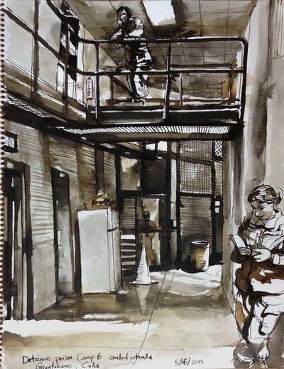 Steve Mumford, '5/15/13, Detainee prison Camp 6 central rotunda, Guantanamo Bay, Cuba', 2013