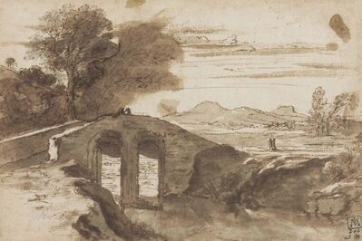 Circle of Claude Gellée, called Claude Lorrain, 'A bridge over a river in the Roman campagna'