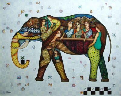 "Shipra Bhattacharya, 'Gaj Yatra, Oil & Acrylic on Canvas by Contemporary Artist ""In Stock""', 2018"