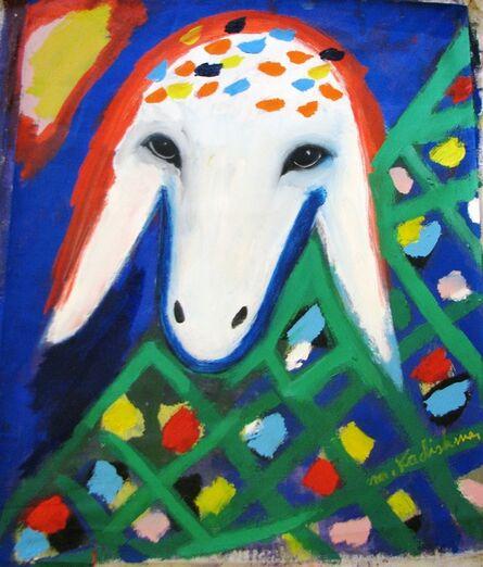 Menashe Kadishman, 'Sheep Portrait with Flowers'