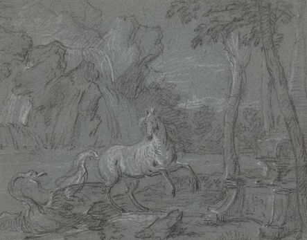 Jean-Baptiste Oudry, 'A horse surprised by a swan in a landscape: a scene from Ovid's Metamorphoses'