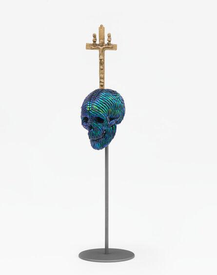 Jan Fabre, 'Skull with Bacongo Cross (Blue)', 2018