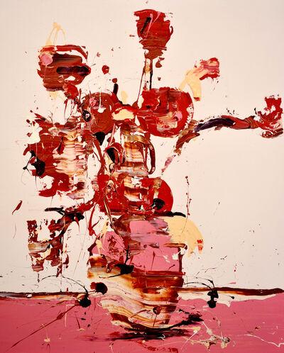 Lars Teichmann, 'Red Flowers', 2018