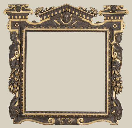 'A partially gilded carved walnut Sansovino frame', possibly 1550s