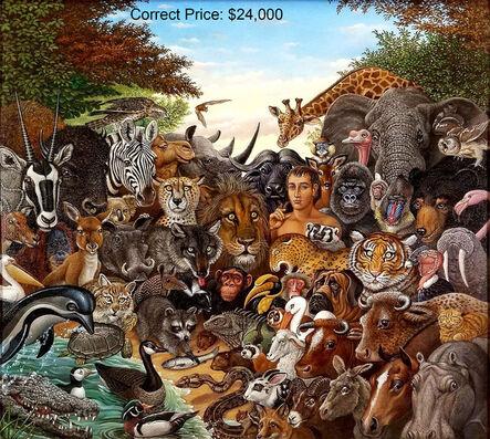 Richard Hess, 'Animal Kingdom, Zebra, Buffalo, Lion, Giraffe, Elephant, Monkey, Tiger, Gorilla', ca. 1980