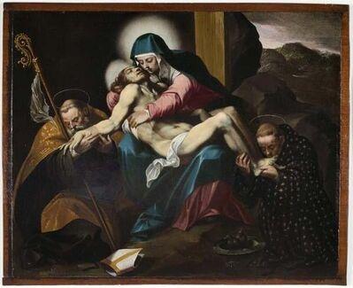 Gregorio Martínez Y Espinosa, 'Lamentation with Saints Augustine and Nicholas of Tolentino', 1590s