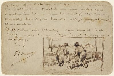 Vincent van Gogh, 'Postcard with Two Peasants Digging', 1885