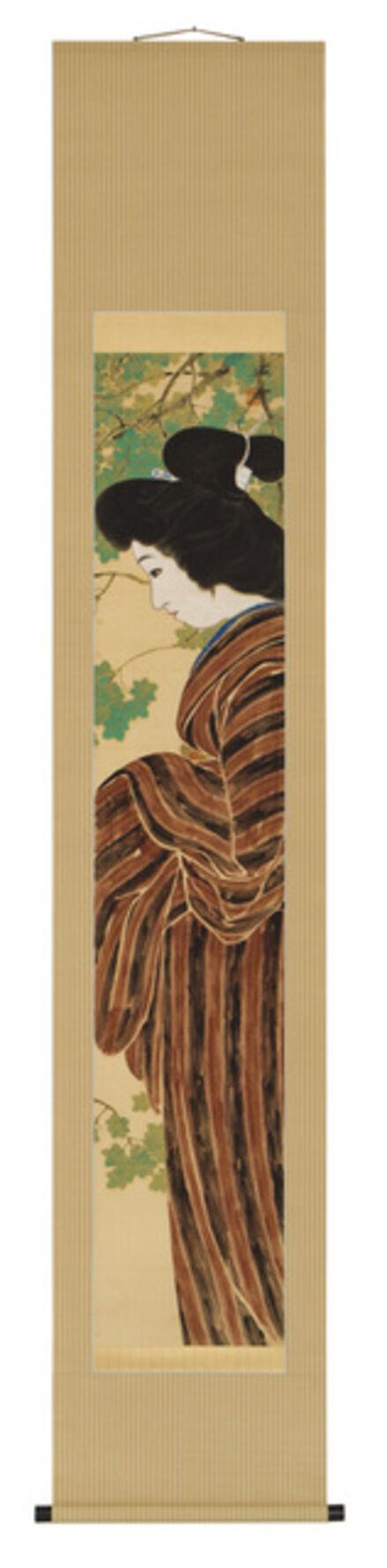 Kaishū, 'Bijin in Striped Kimono (T-3798)', ca. 1912