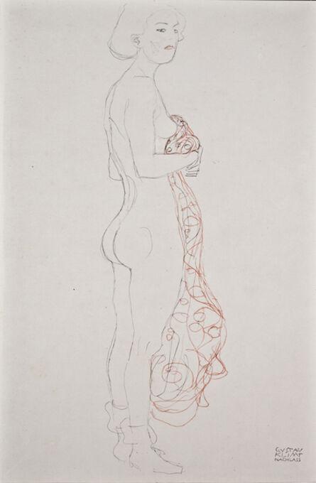 Gustav Klimt, 'Standing Nude with Towel [Fünfundzwanzig Handzeichnungen]', 1919