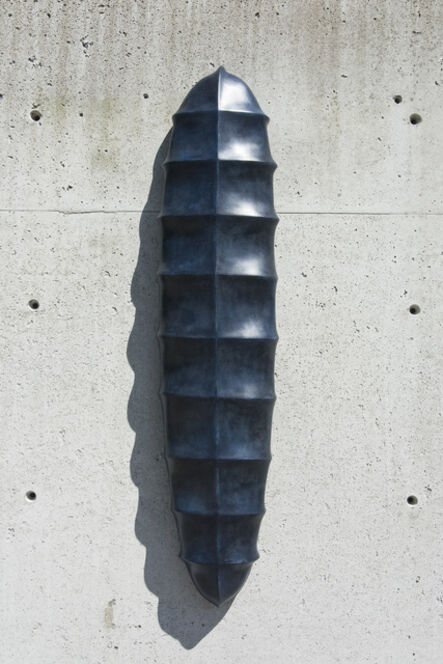 Jana Osterman, 'Biomorphic No 10 - blue, abstract, patinated bronze, winterstone wall sculpture', 2020