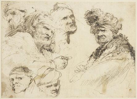 Giovanni Benedetto Castiglione, 'Studies of heads', ca. 1635-40