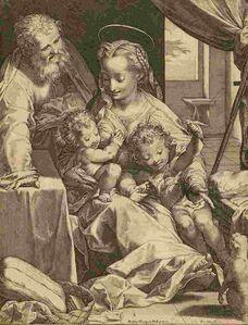 Cornelis Cort after Federico Barocci, 'The Holy Family or 'Madonna del Gatto'', 1577