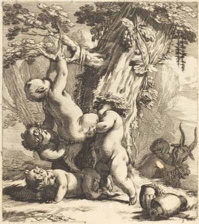 Michel Dorigny, 'Putti and Fauns Climbing a Grapevine', 1650s