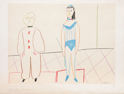 Pablo Picasso, '(Pierrot and the Acrobat.) Untitled from Suite de 15 dessins de Picasso. ', 1954